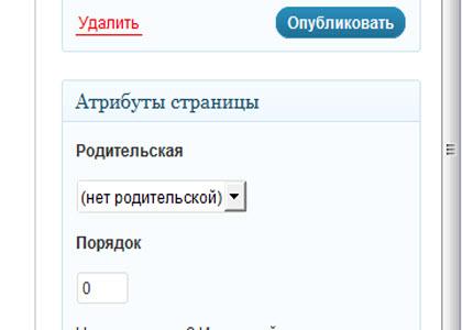 Как сделать новую страницу_блок параметров публикации