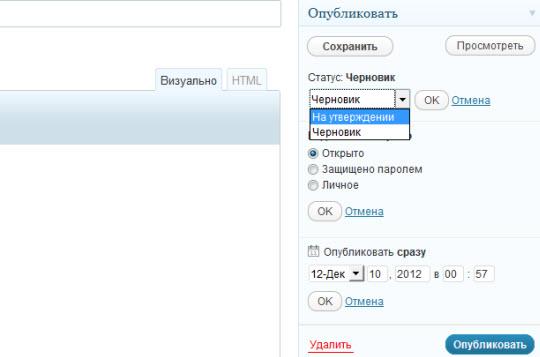 Как сделать новую страницу_развернутый блок параметров публикации
