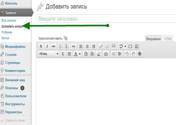 как разместить статью_редактор wordpress