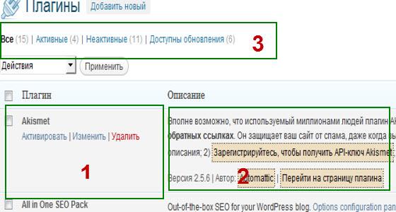 меню плагины в административной панели wordpress