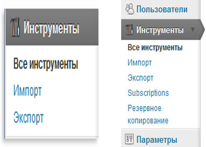 панель инструментов wordpress