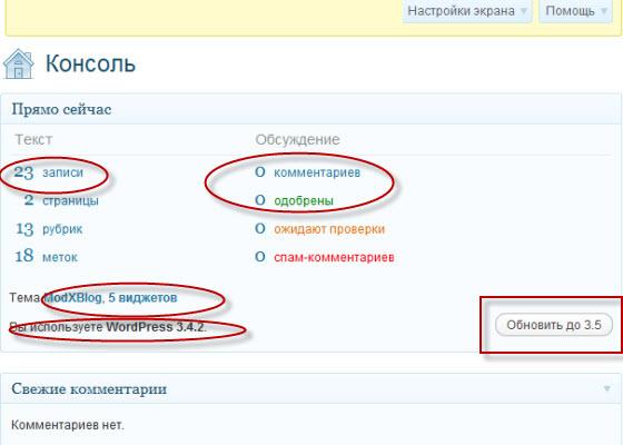 статистика блога_консоль админ-панели
