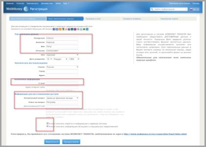Анкета при регистрации на webmoney